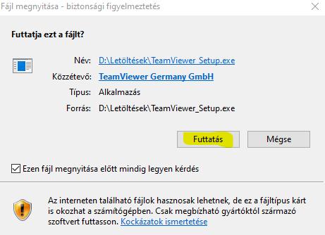 TeamViewer telepítése 1. lépés